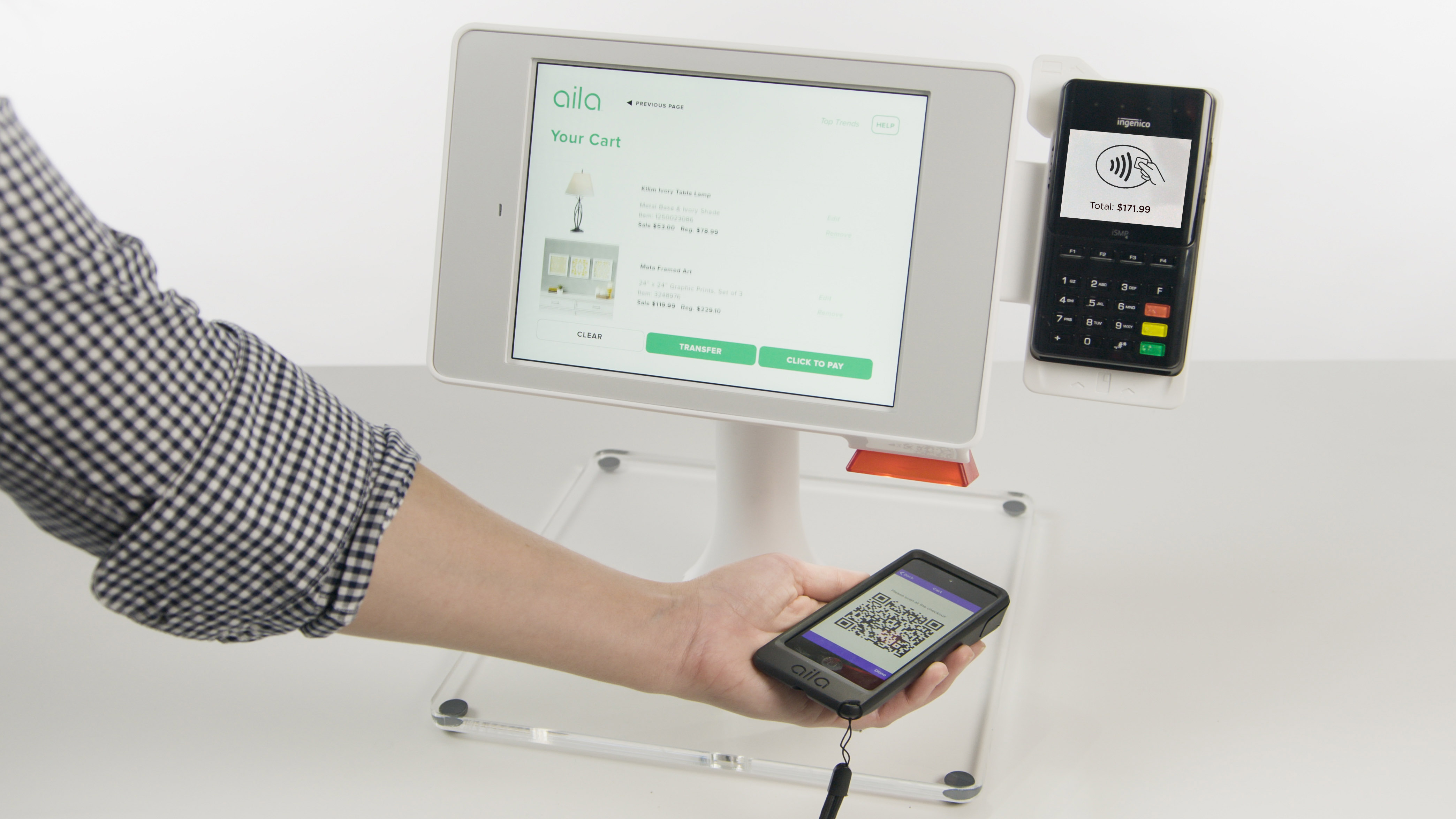 AIla's QR code mobile-to-kiosk cart transfer for payments.
