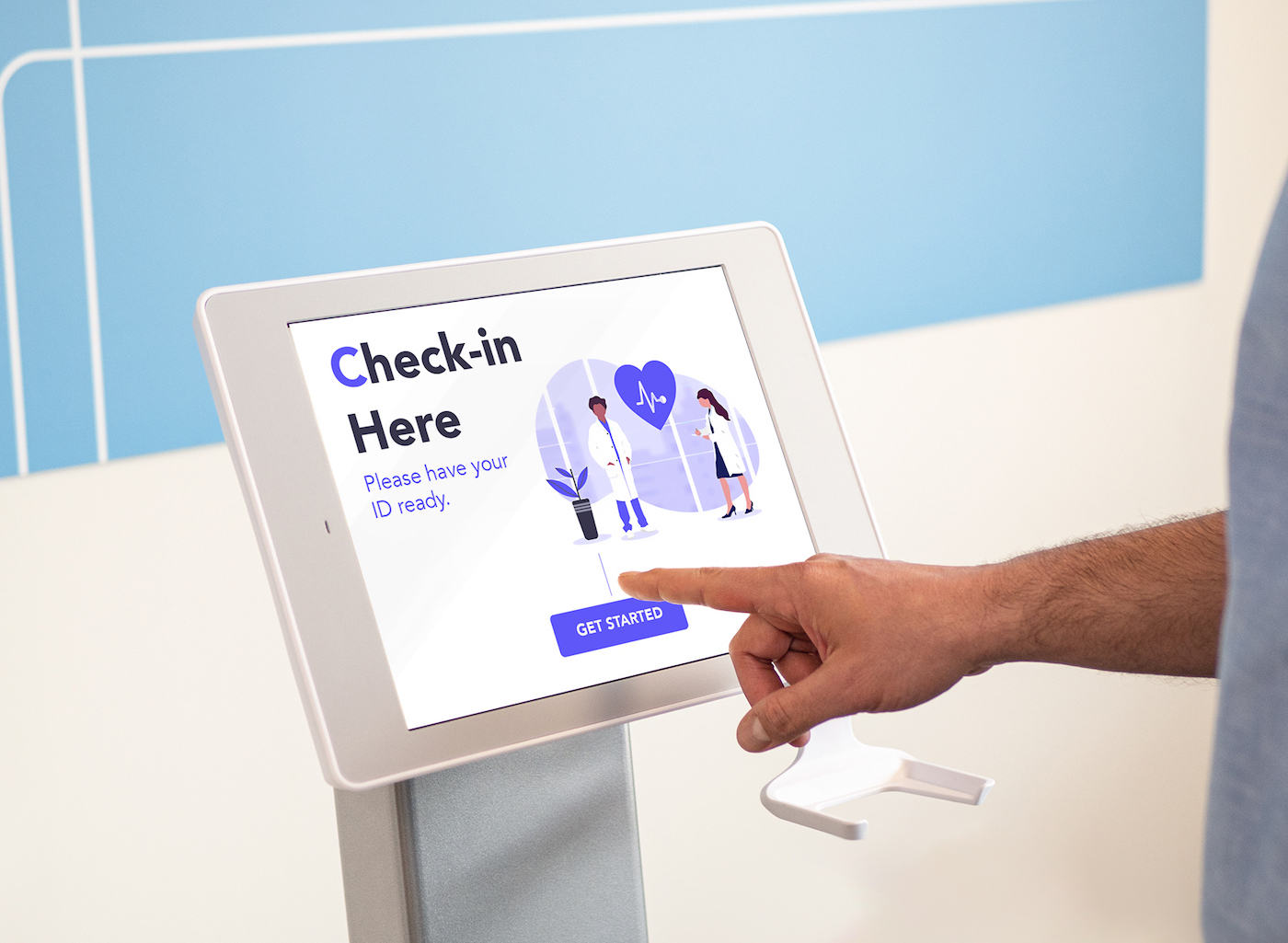 healthcare check-in with ID scanning on Aila's Interactive Kiosk