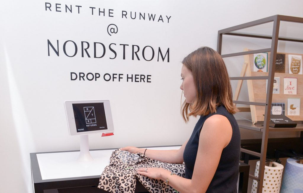 Rent the Runway drop-off at Nordstrom. Aila's Interactive Kiosk.