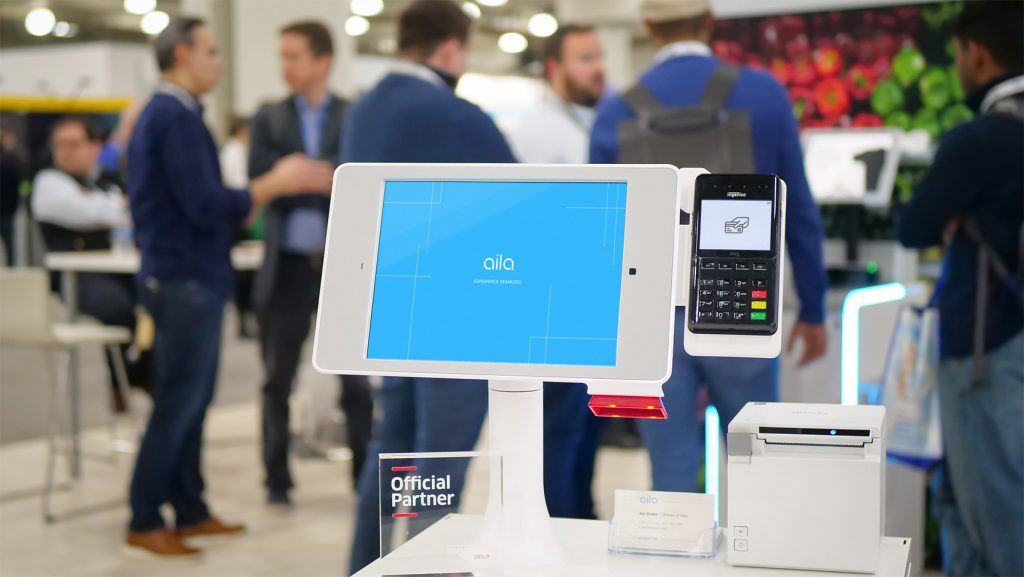 """Aila's Interactive Kiosk with 10.2"""" iPad and Epson TM-M30 printer at NRF 2020."""